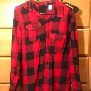 H&M red and black flannel shirt